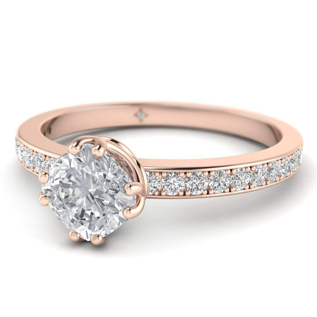 Vintage Cushion Cut Diamond Engagement Ring in Rose Gold with Pave Accents - Custom Made
