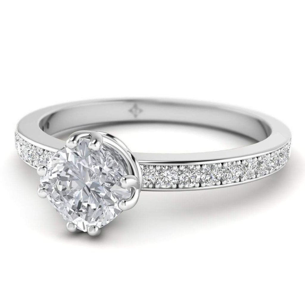 EN Vintage Cushion Cut Diamond Engagement Ring in White Gold with Pave Accents