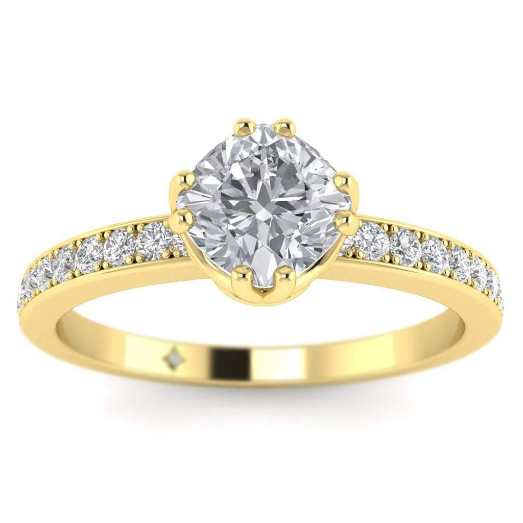 Vintage Cushion Cut Diamond Engagement Ring in Yellow Gold with Pave Accents - Custom Made