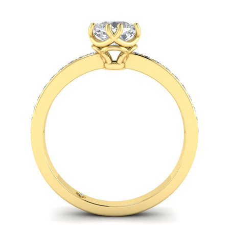 EN Vintage Cushion Cut Diamond Engagement Ring in Yellow Gold with Pave Accents