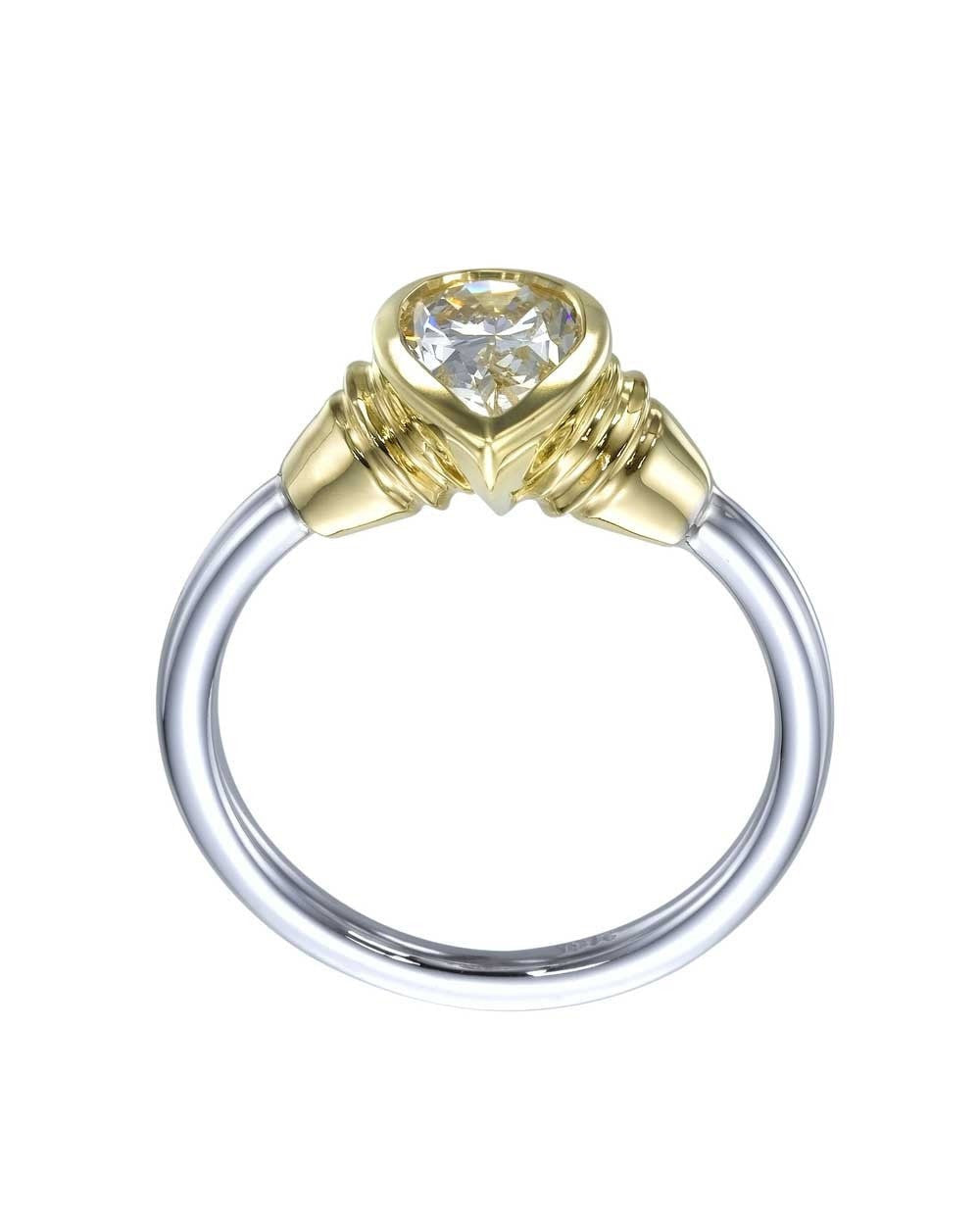 Engagement Rings Vintage Design Twotone Gold Pear Shaped Diamond Bezel  Set Engagement Ring Without