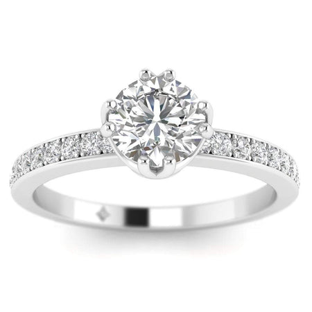 EN Vintage Platinum 6-Prong Solitaire Round Cut Diamond Engagement Ring with Pave Accents