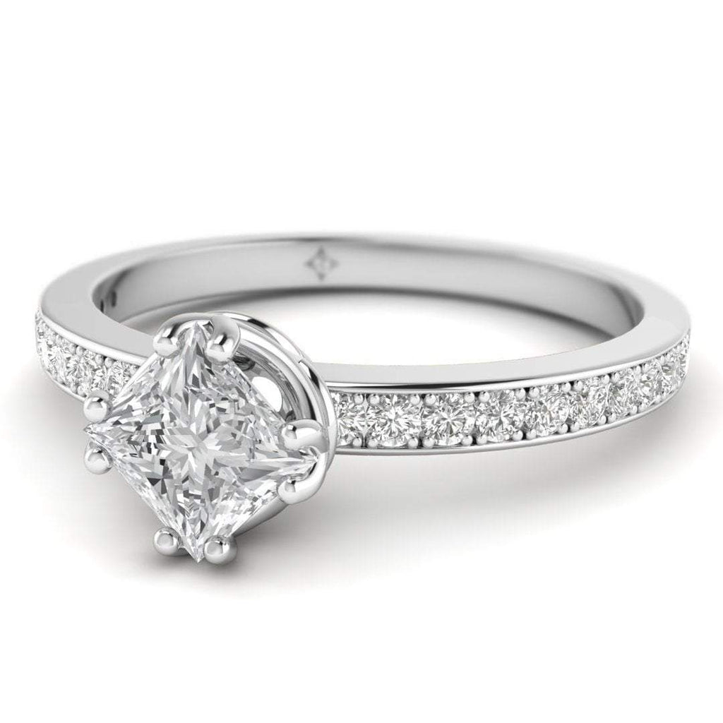Vintage Princess Cut Diamond Engagement Ring in Platinum with Pave Accents - Custom Made