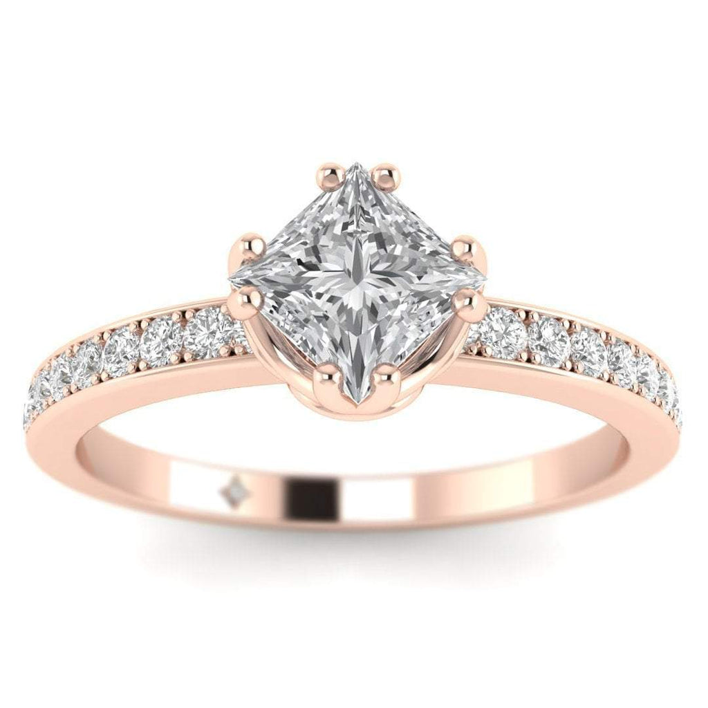 EN Vintage Princess Cut Diamond Engagement Ring in Rose Gold with Pave Accents