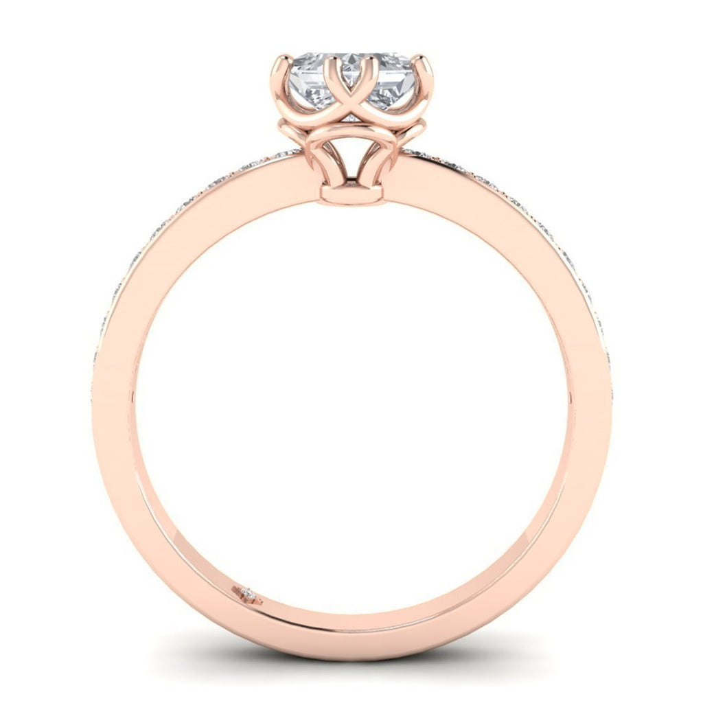 Vintage Princess Cut Diamond Engagement Ring in Rose Gold with Pave Accents - Custom Made