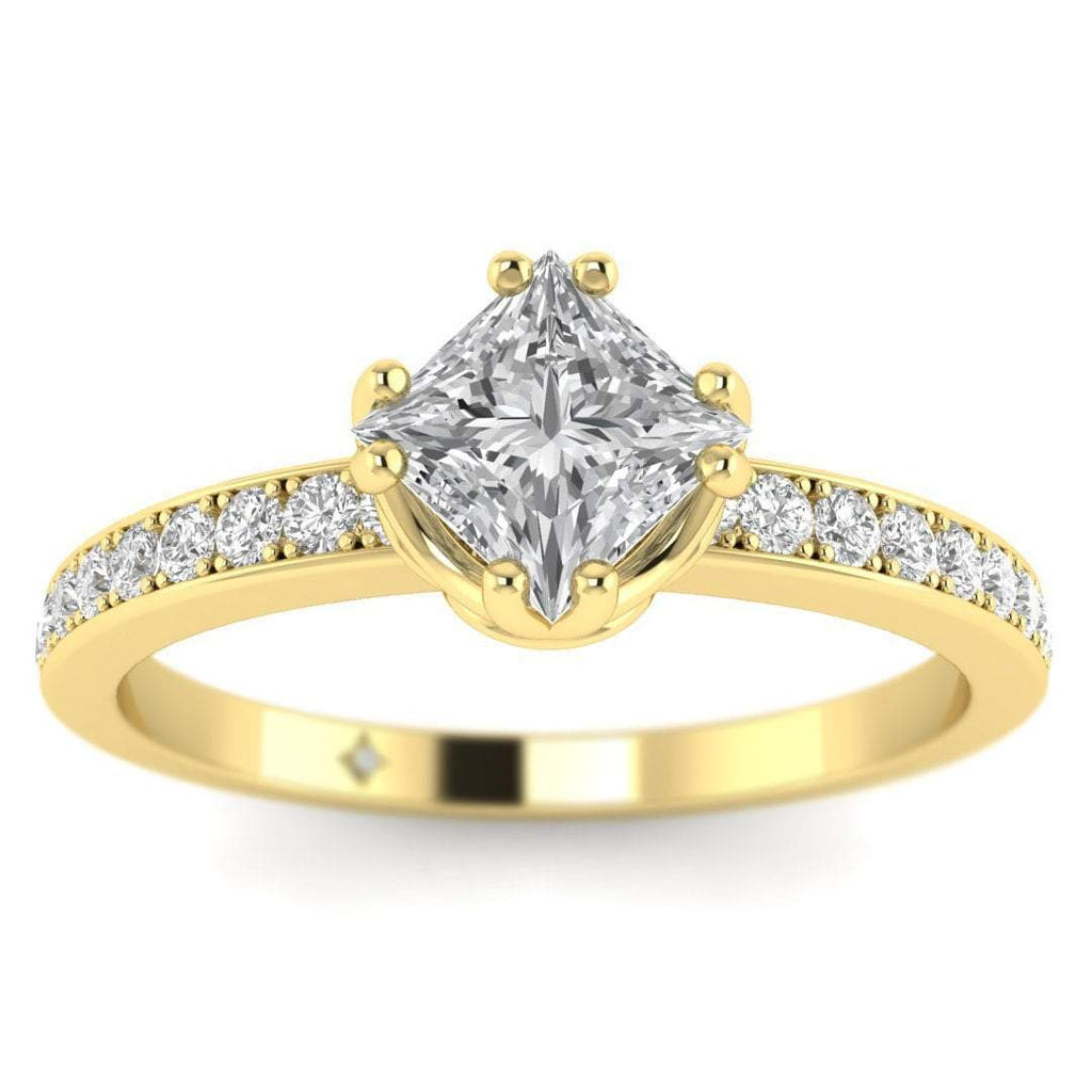 EN Vintage Princess Cut Diamond Engagement Ring in Yellow Gold with Pave Accents