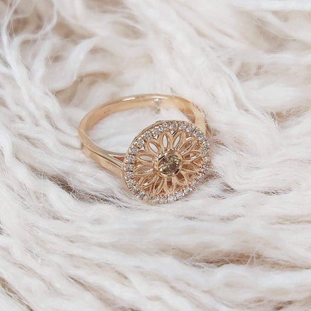 Mandala Vintage Rose Gold, 0.60 carat Champagne Diamond Halo Right-hand Ring