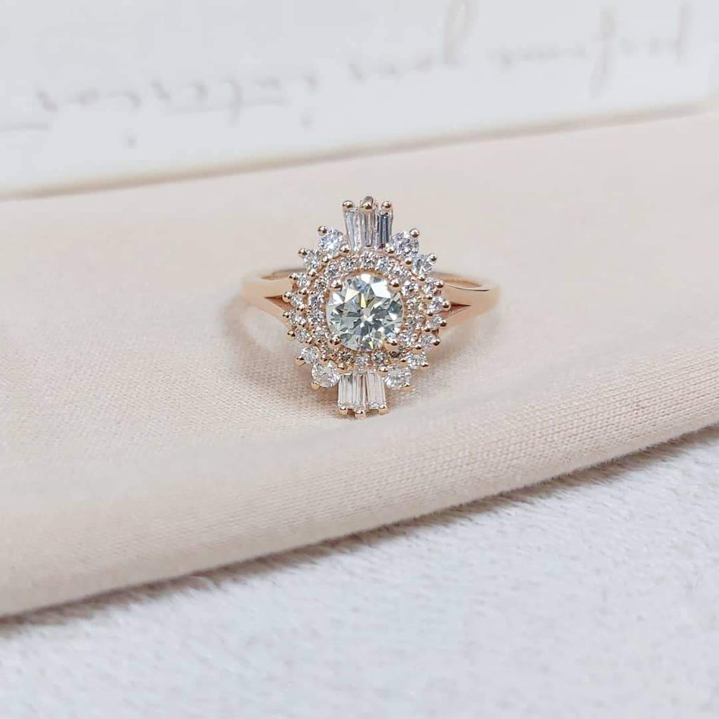 Vintage style Round & Baguette Diamond Engagement Ring in 14k Rose Gold - Custom Made