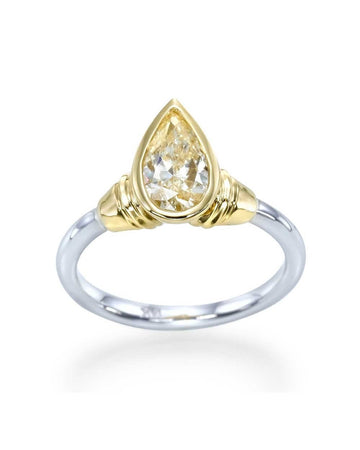 Engagement Rings Vintage Two-tone Gold Pear Shaped Bezel Set Engagement Ring - 1ct Diamond