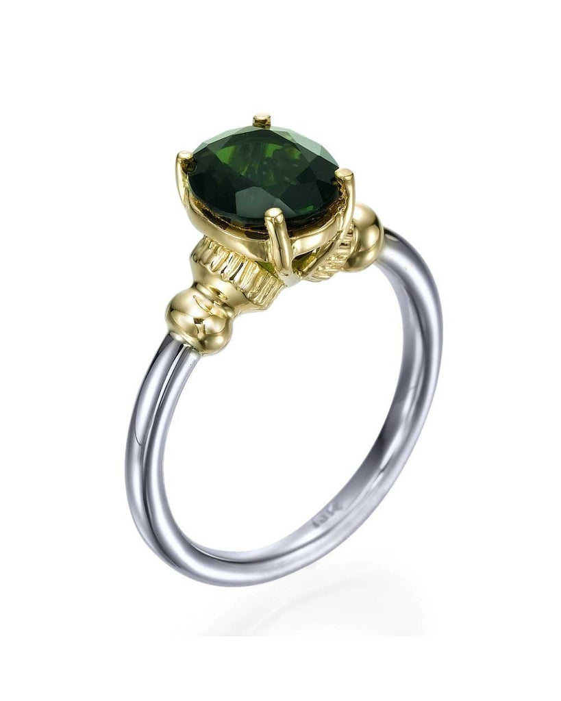 Vintage Two-tone White & Yellow Gold Green Tourmaline Gemstone Ring - Custom Made