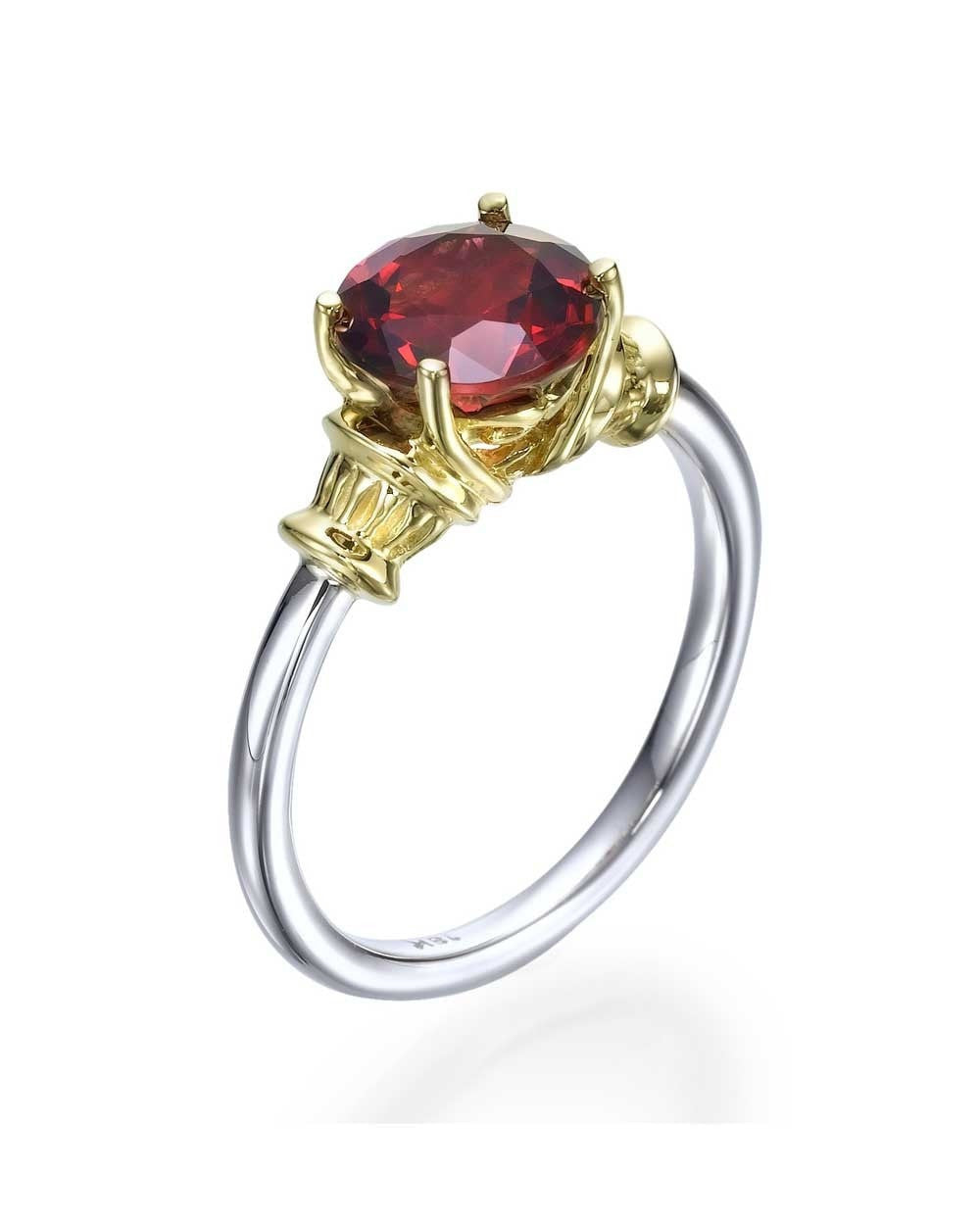 Gemstone Rings Vintage Two-tone White & Yellow Gold Red Garnet Gemstone Ring