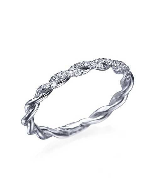 Wedding Rings Vintage Wedding Ring Band with Diamond in Platinum