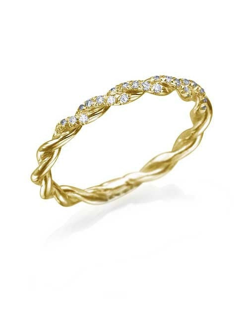 Wedding Rings Vintage Wedding Rings for Women with 0.10ct Diamonds in Yellow Gold