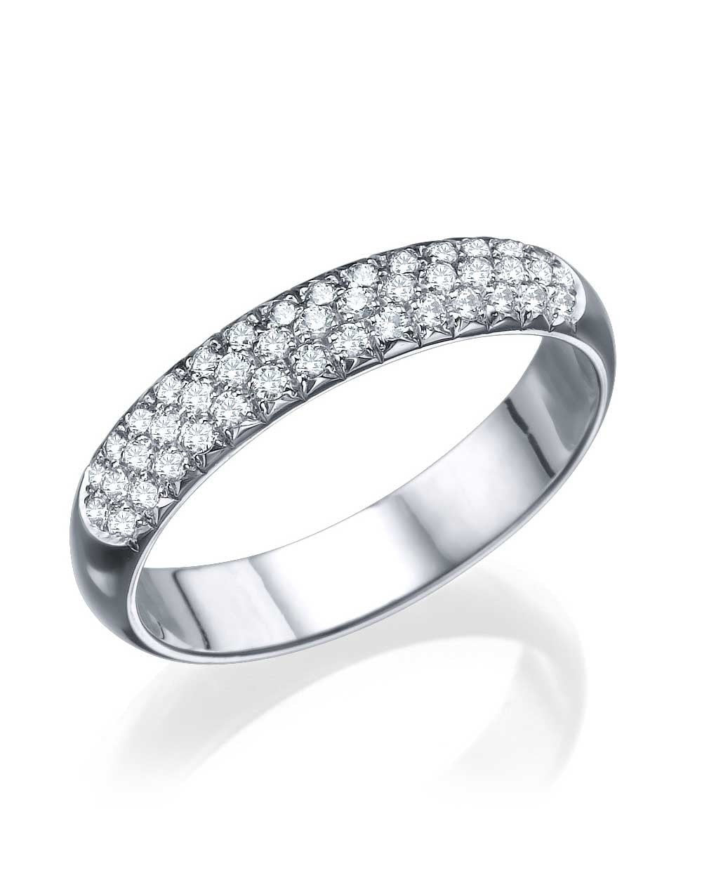 Wedding Rings White Gold 0.39ct Diamond Semi-Eternity Wedding Ring