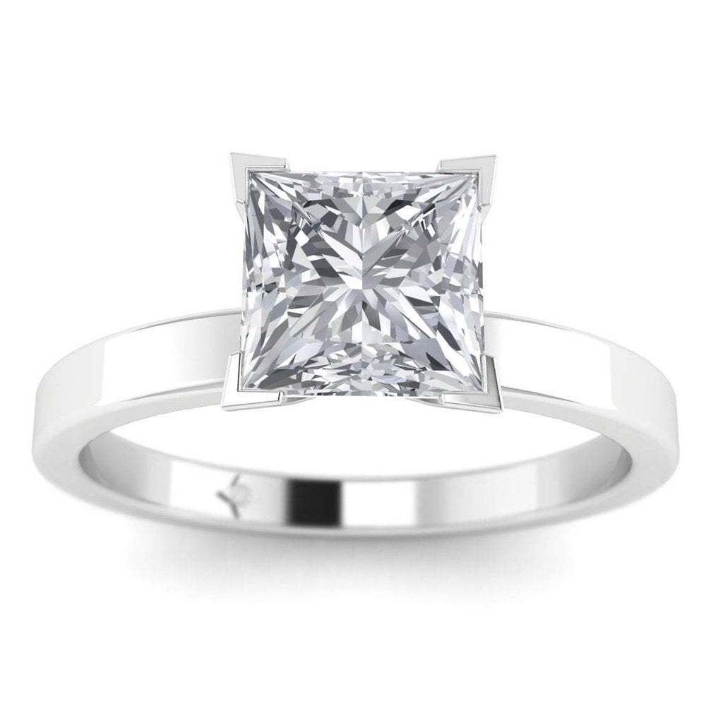 EN-SO-14-CE-D-SI1-EX White Gold 0.50 carat D/SI1 CE Princess Cut Diamond Engagement Ring Modern 4-Prong Solitaire