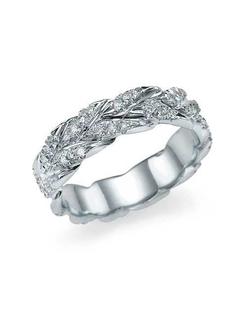 White Gold 0.50ct Diamond Wedding Band - Golden Leaves Design - Custom Made