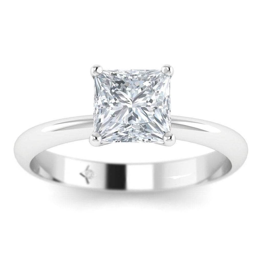 EN-SO-14-CE-D-VS2-EX White Gold 1.00 carat D/VS2 Princess Cut Diamond Engagement Ring Timeless 4-Prong Tapered