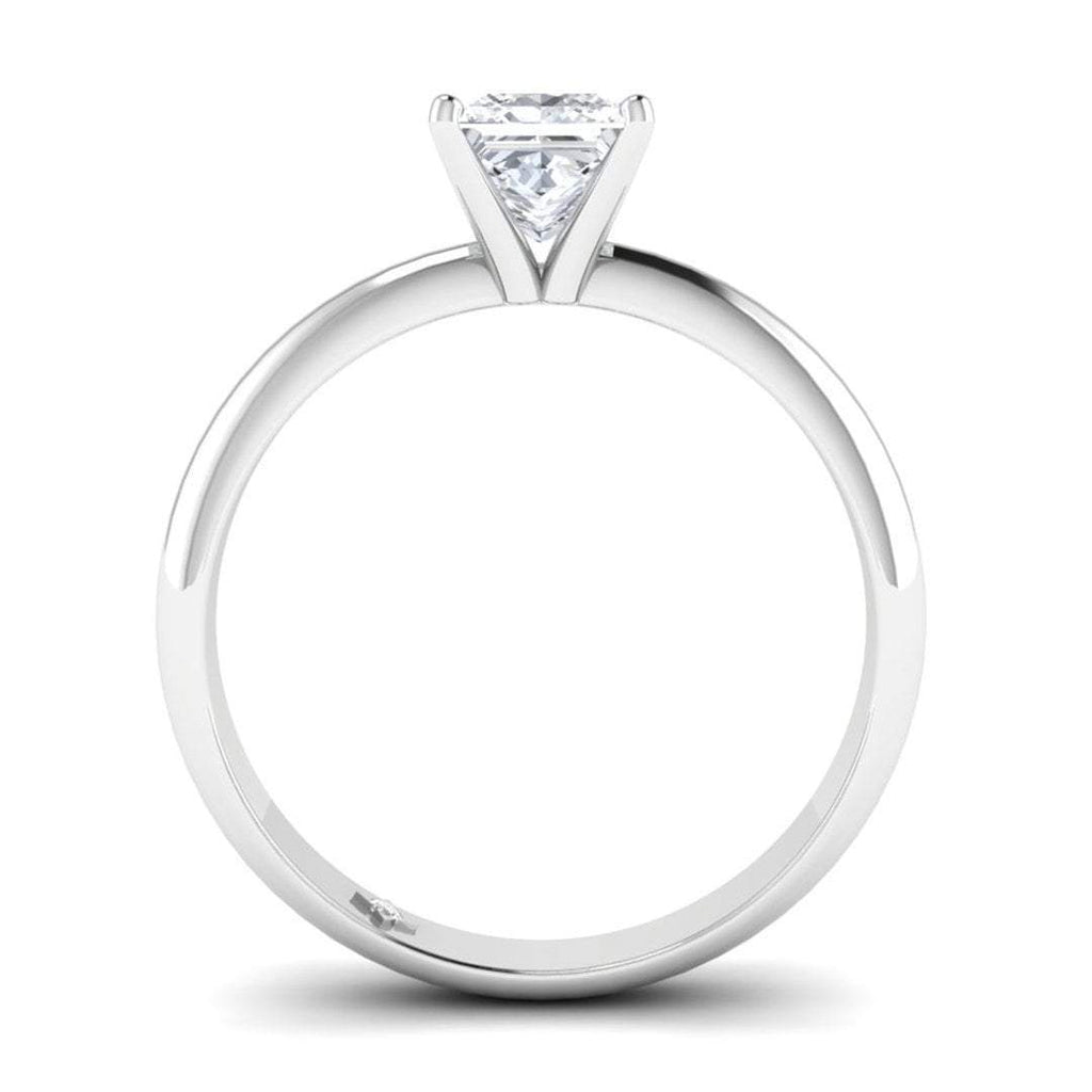 White Gold 1.00 carat D/VS2 Princess Cut Diamond Engagement Ring Timeless 4-Prong Tapered - Custom Made