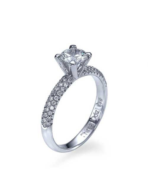 Engagement Rings White Gold 3-Row Pave Set 4-Prong Engagement Ring - 0.5ct Diamond