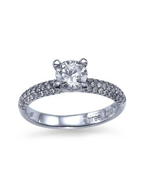 White Gold 3-Row Pave Set 4-Prong Engagement Ring - 0.5ct Diamond - Custom Made