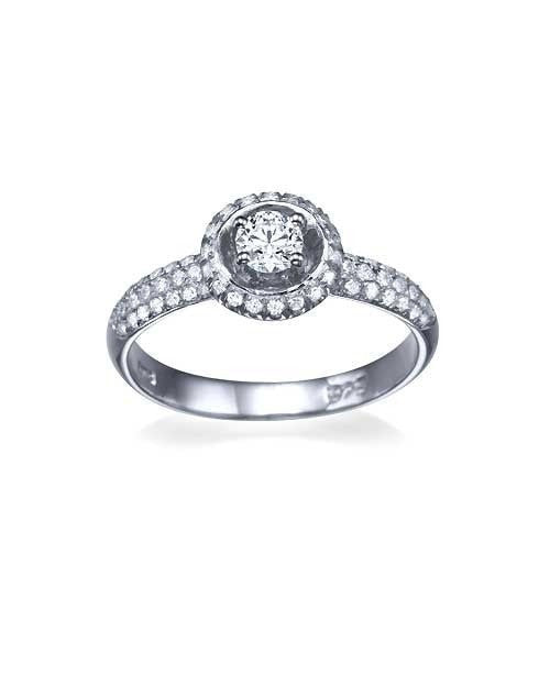 Engagement Rings White Gold 3-Row Pave Set Halo Round Engagement Ring - 0.3ct Diamond