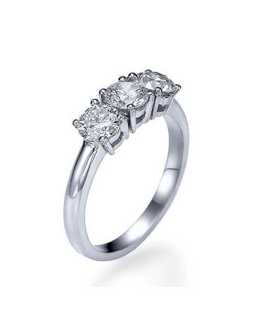 White Gold 3 Stone Diamond Rings Classic Engagement Ring - 0.90ctw - Custom Made