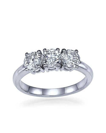 Engagement Rings White Gold 3 Stone Diamond Rings Classic Engagement Ring - 0.90ctw