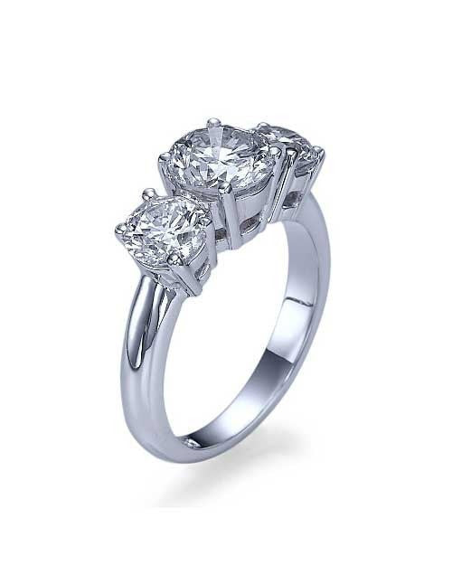 Engagement Rings White Gold 3-Stone Trilogy Round Diamond Semi Mounts