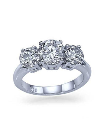 Engagement Rings White Gold 3-Stone Trilogy Round Engagement Ring - 0.75ct Diamond