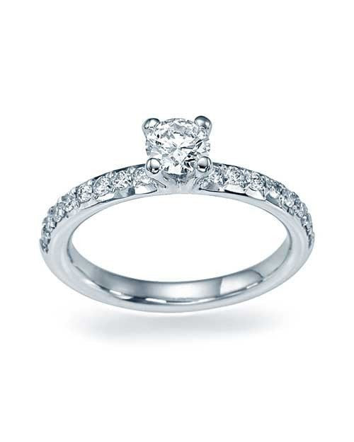 White Gold 4-Prong French-Cut Pave Set Engagement Ring - 0.5ct Diamond - Custom Made