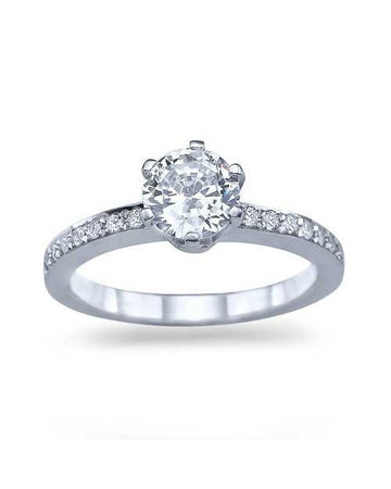 Engagement Rings White Gold 6-Prong Crown Round Pave Engagement Ring - 1ct Diamond