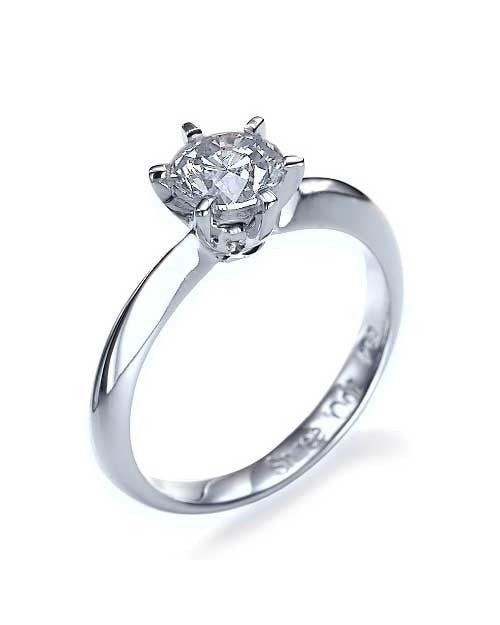 Engagement Rings White Gold 6 Prong Round Ring Knife Edge