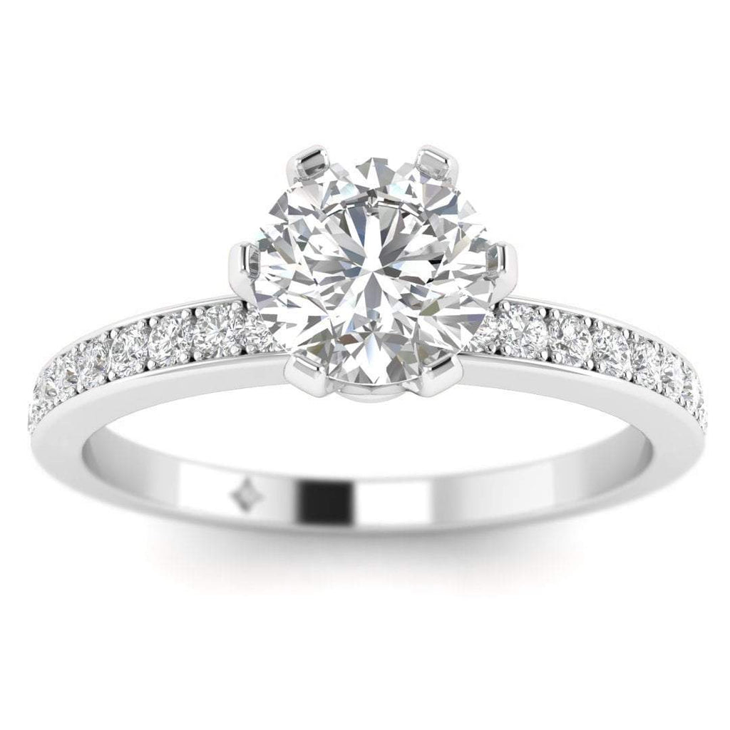 White Gold 6-Prong Solitaire Round Cut Diamond Engagement Ring with Pave Accents - Custom Made