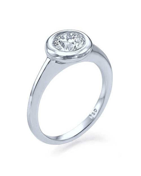 Engagement Rings White Gold Bezel Set Round Cut Engagement Ring Thin Band - 0.75ct Diamond