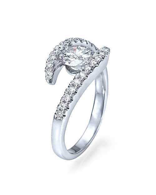 White Gold Bypass Tension Round Cut Engagement Ring - 1ct Diamond - Custom Made