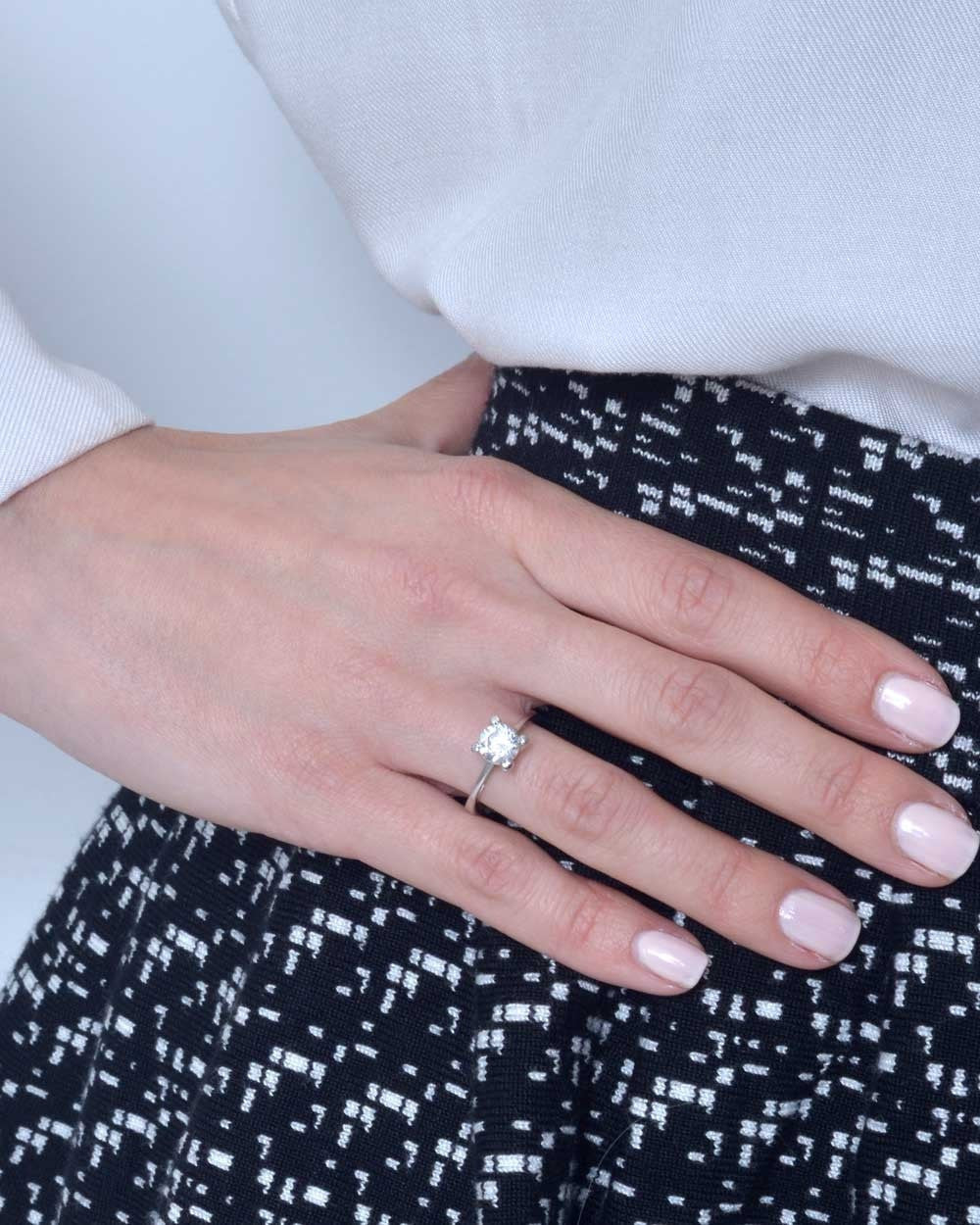 White Gold Cathedral Pave Set 4-Prong Engagement Ring Setting Only ...