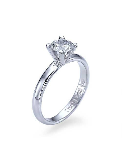 White Gold Classic 4-Prong Round Cut Engagement Ring - 0.5ct Diamond - Custom Made