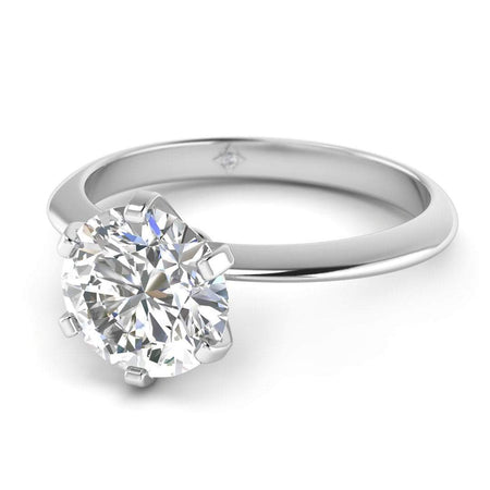 EN-SO-14-CE-D-SI1-EX White Gold Classic 6-prong Solitaire Round Diamond Engagement Ring - 1.00 carat D/SI1 Clarity Enhanced