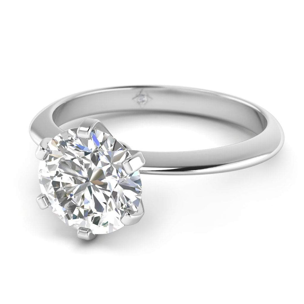 EN-SO-14-CE-D-SI1-EX White Gold Classic 6-prong Solitaire Round Diamond Engagement Ring - 1.50 carat D/SI1 Clarity Enhanced