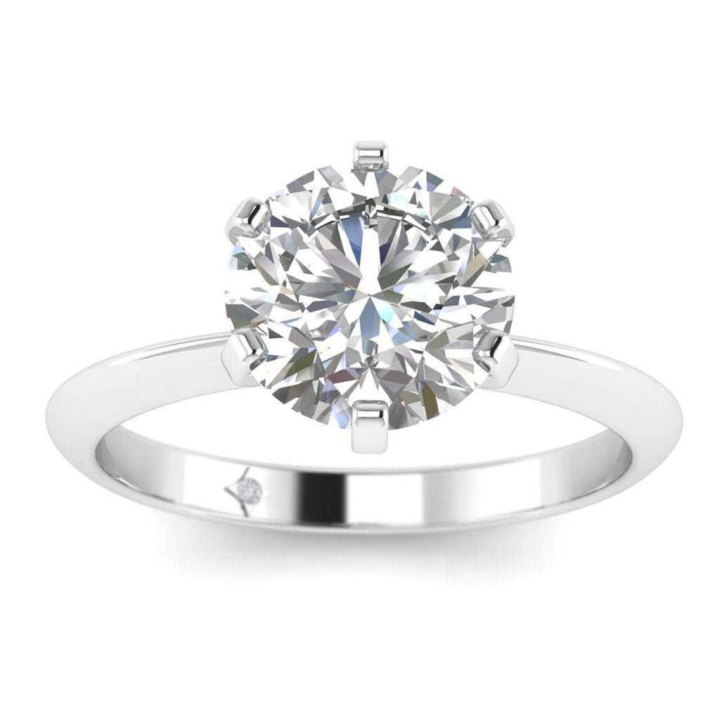 White Gold Classic 6-prong Solitaire Round Diamond Engagement Ring - Front View
