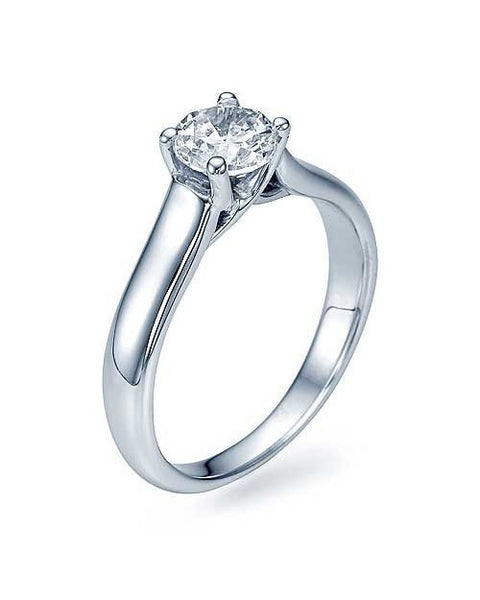Engagement Rings White Gold Classic Cross Prong Flat Solitaire Diamond Semi Mounts