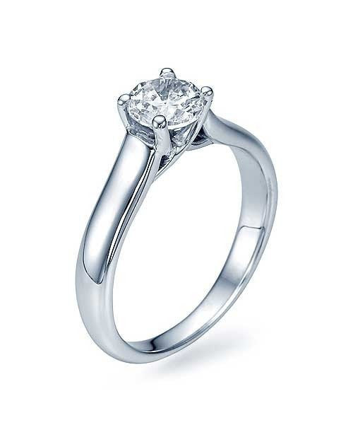 Engagement Rings White Gold Classic Cross Prong Flat Solitaire Engagement Ring - 0.75ct Diamond