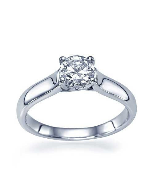 White Gold Classic Cross Prong Flat Solitaire Engagement Ring - 0.75ct Diamond - Custom Made