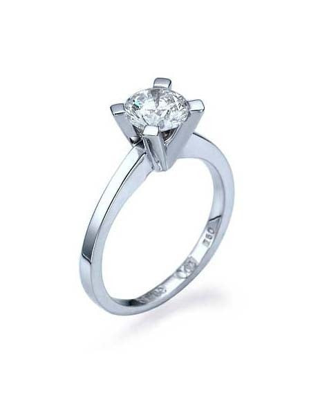 Engagement Rings White Gold Classic Diamond Solitaire Engagement Ring 4-Prong Round Semi Mount Ring