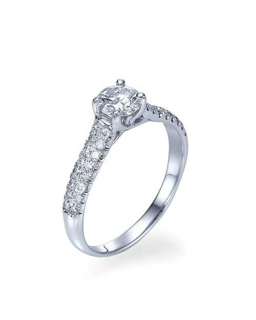 Engagement Rings White Gold Classic Pave Set Cross 4-Prong Engagement Ring - 0.5ct Diamond
