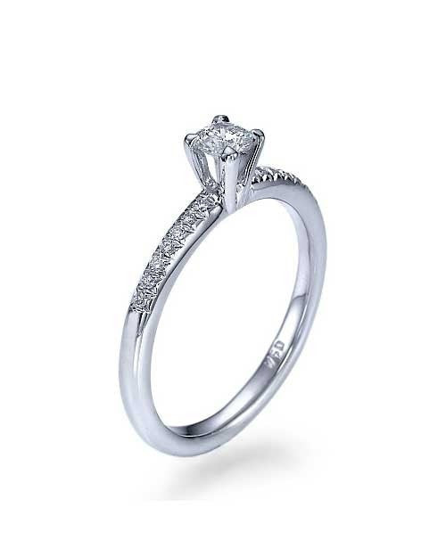 White Gold Classic Thin 4-Prong Engagement Ring - 0.2ct Diamond - Custom Made
