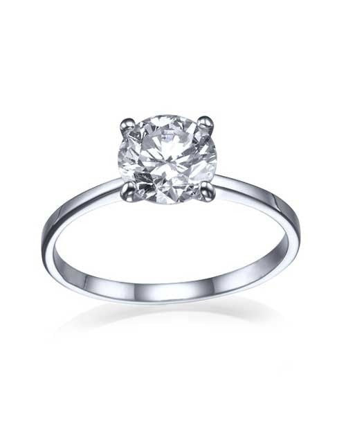 Engagement Rings White Gold Classic Thin 4-Prong Round Engagement Ring - 1ct Diamond