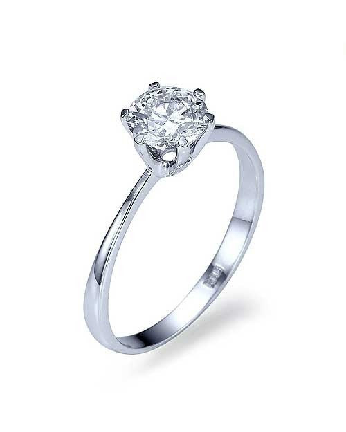 White Gold Classic Thin 6 Prong Engagement Ring Semi Mount