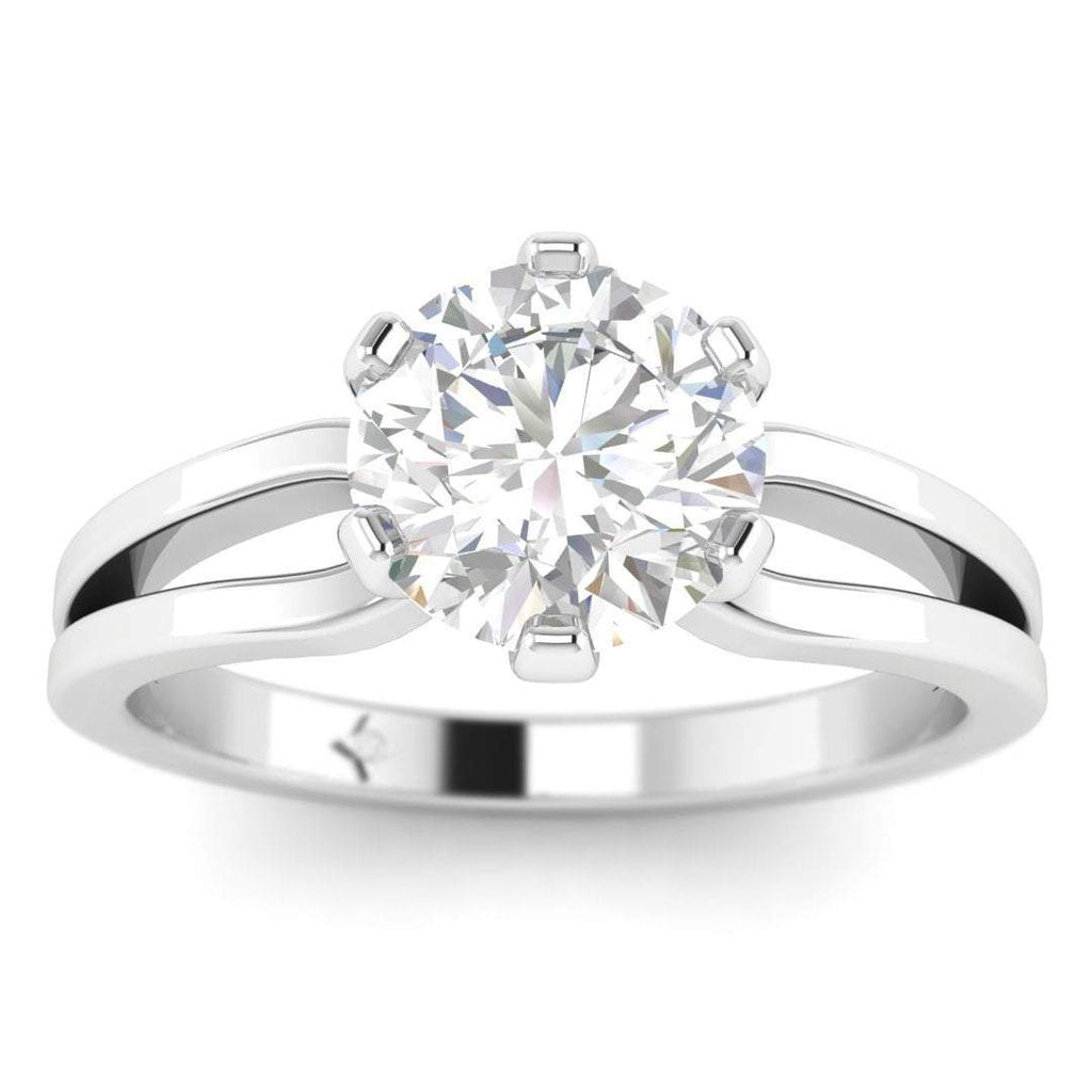 EN-SO-14-CE-D-SI1-EX White Gold Designer Split Shank 6-Prong Round Diamond Engagement Ring - 1.00 carat D/SI1 Clarity Enhanced