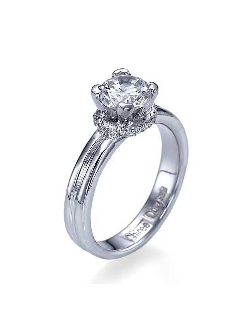 Engagement Rings White Gold Double Shank Diamond Solitaire Engagement Ring Semi Mount Ring